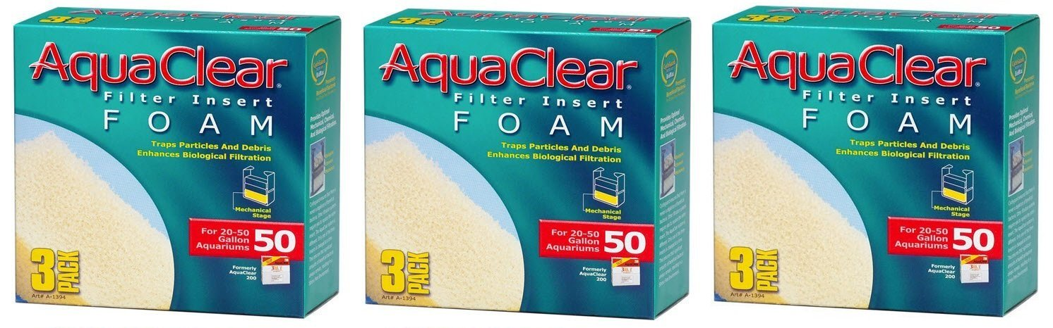 (9 Pack) AquaClear 50-Gallon Foam Inserts, (3 Boxes with 3 Inserts each)