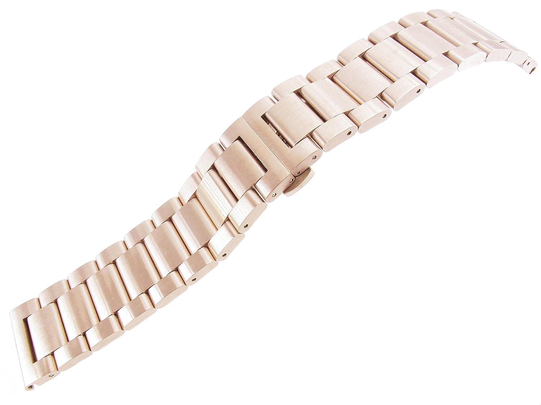 jrrs7777 24 mm Solidステンレススチールリストバンド腕時計ブレスレットローズゴールドBrushed新しいバンド  B01J9R0JY6