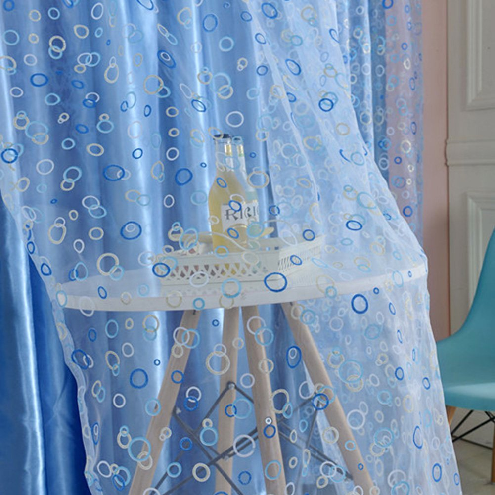Blue bedroom window curtains - Amazon Com Edal Circle Pattern Room Voile Window Curtains Sheer Panel Drapes Scarfs Curtains Blue Home Kitchen