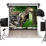 Kate Spring Dinosaur Photography Backdrops 3d Rock Tree Backdrop Brick Floor for Children Birthday Photo Background 5x7ft(1.5x2.2m)