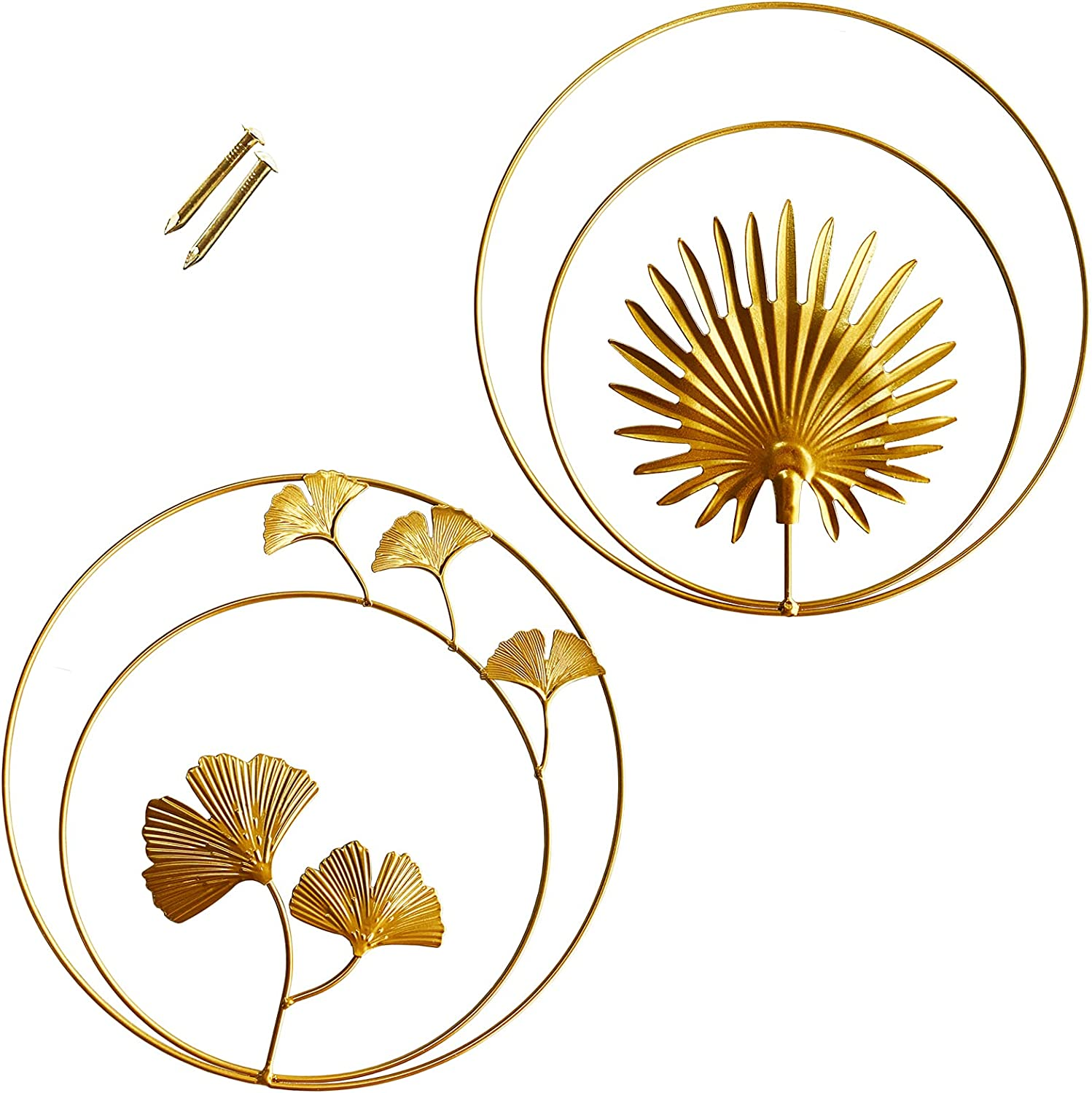 2PCS Wall Sculptures 11 Inch Metal Leaf Wall Decor Gingko Palm Leaf Hanging Wall Art Round Gold decor Easy Installation for Home,Bedroom,Living Room,Office,Hotel Decoration,Gold