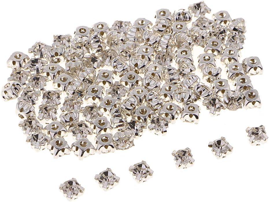 100x Piedras de Estrás Botones de Cristal Flatback de Facetas de Diamantes de Imitación de 6 Mm para Decoraciones de Ropa,Bolsa,Sombrero - 6 mm plata