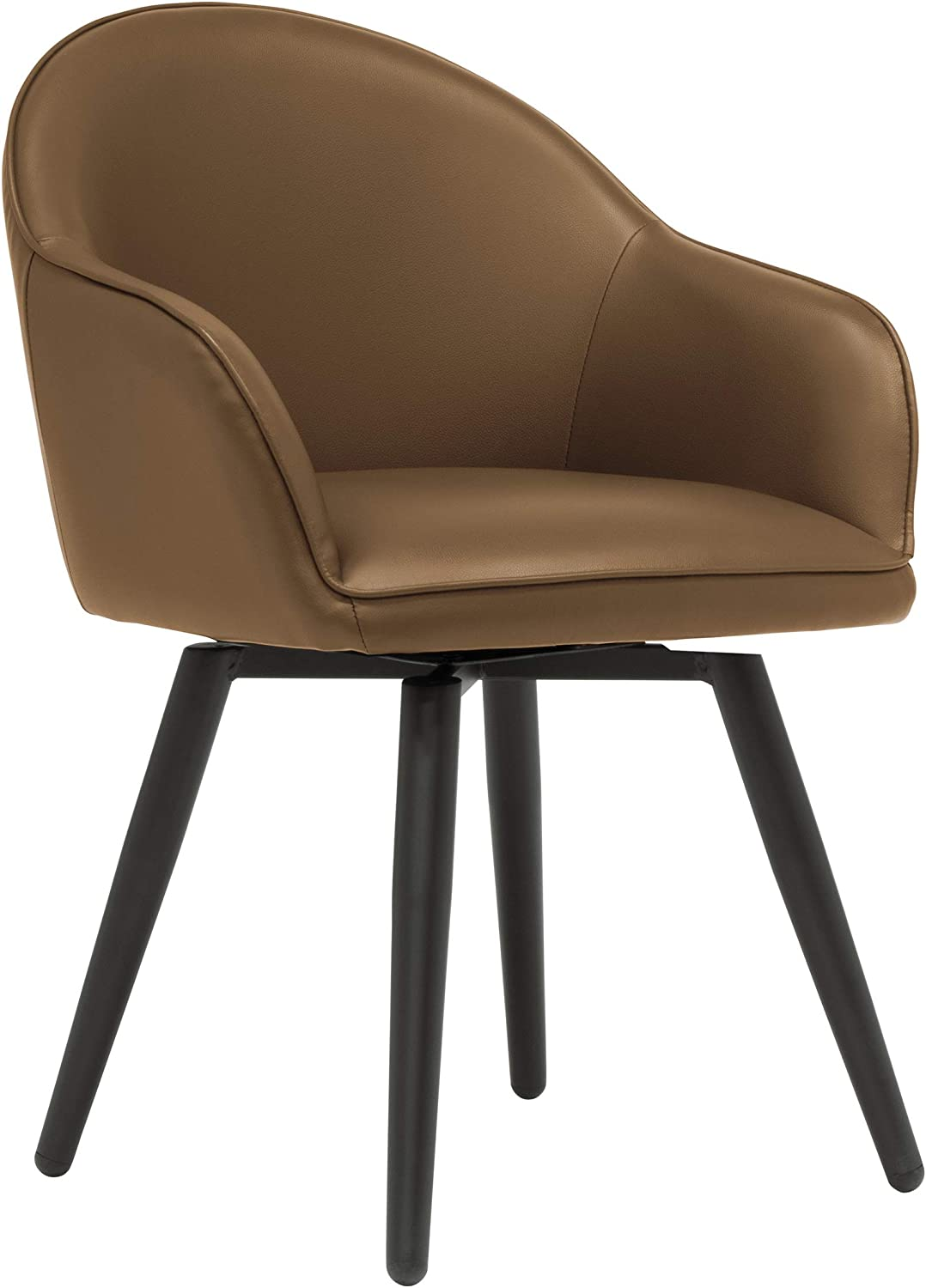 Studio Designs Home Dome Swivel Accent Chair with Arms, Office/Dining/Guest, Black/Caramel Brown Faux Leather