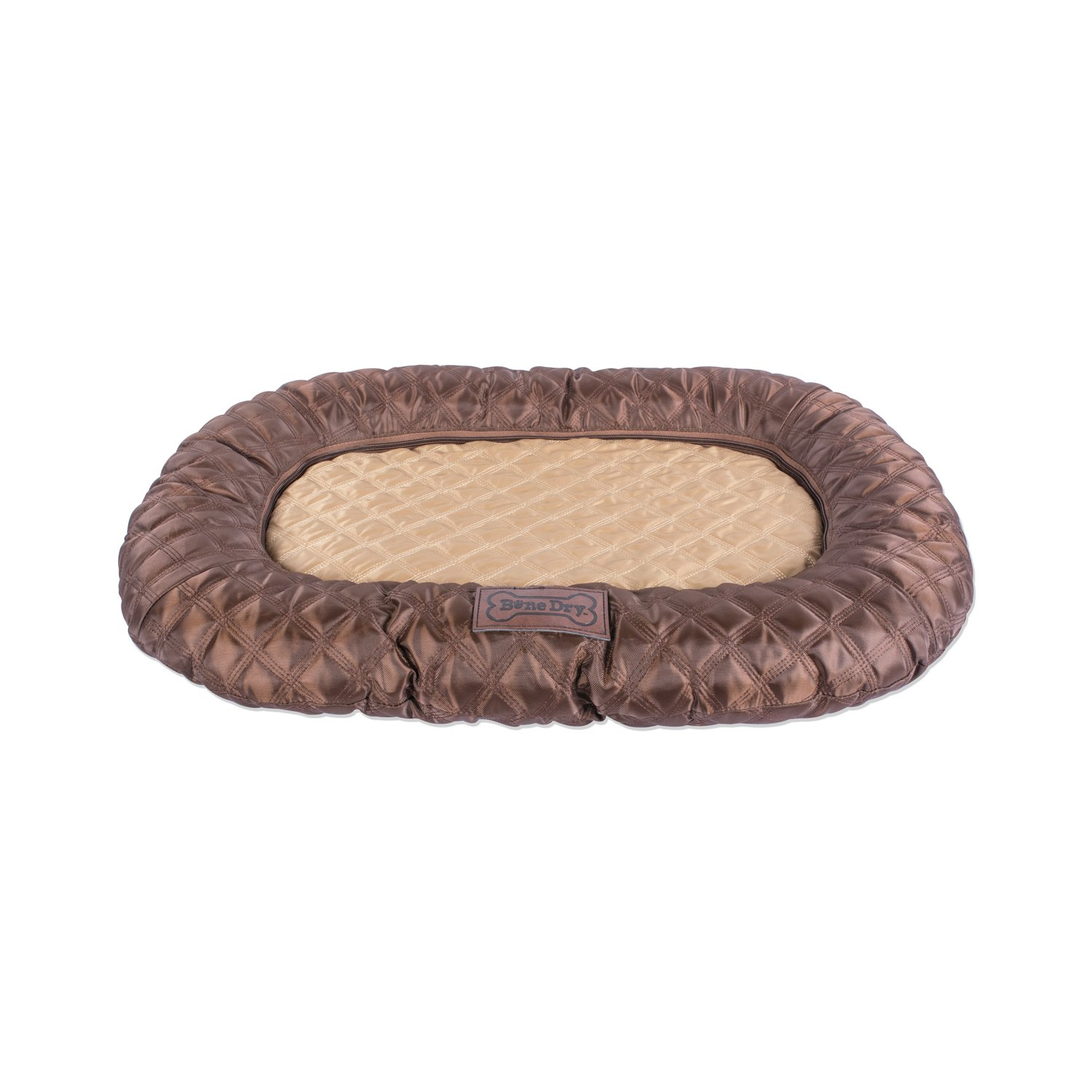 Bone Dry DII Small Oval Quilted Kennel & Crate Padded Pet Mat, 17x22 for Dogs or Cats-Brown