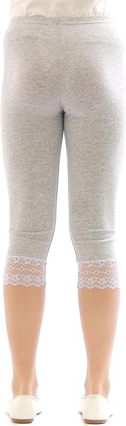 Filles Enfants Leggings Leggings Capri 3//4 Dentelle Pantalon Court Coton