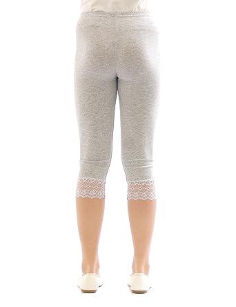 6d7d210111c822 yeset yeset Mädchen Kinder Leggings Leggins Hose Capri 3/4 kurz mit Spitze  Baumwolle Leggings: Amazon.de: Bekleidung