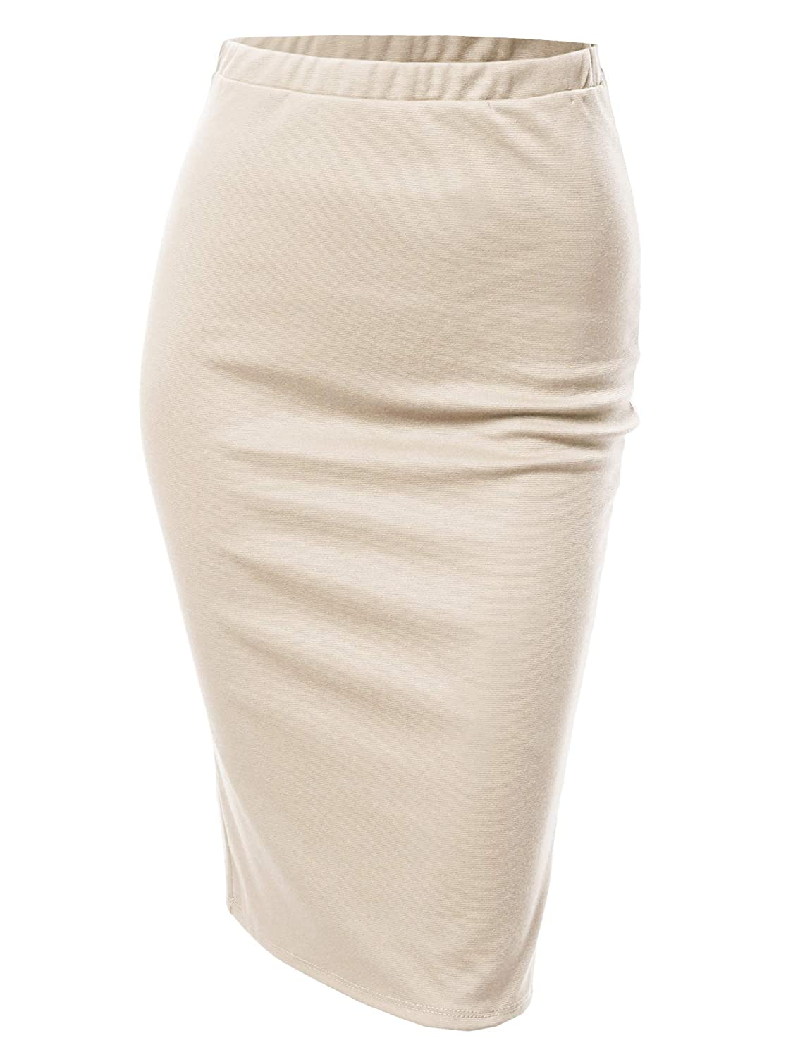 Aawskm0005 Beige Awesome21 Women's Fitted Stretch Solid Print High Waist Midi Pencil Skirt  Made in USA