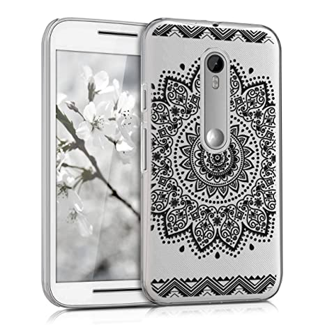 kwmobile Crystal Case for Motorola Moto G (3. Generation) with Design flower - transparent Protection Case Cover clear in black transparent