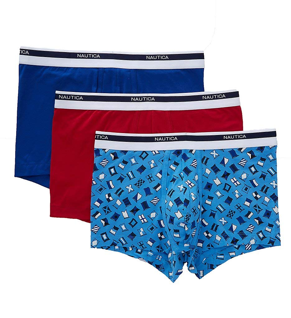 Nautica Men's Classic Underwear Cotton Stretch Trunk, Bright Cobalt Red/Flag Print, Large by Nautica