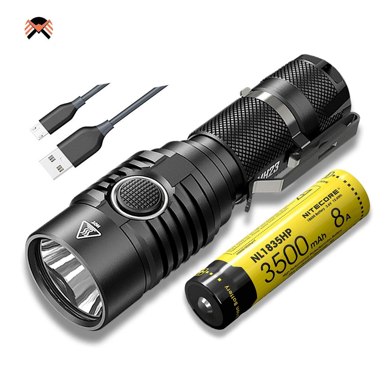 NITECORE MH23 Linterna LED Recargable USB Alta Potencia 1800 Lú menes 8 Modos de Iluminació n Resistente al Agua IPX8 ([ INCLUYE Baterí a Recargable NL1835HP ])