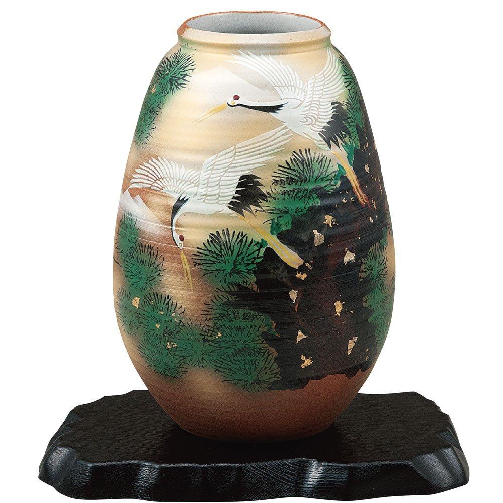 九谷焼 陶器 花瓶 松に鶴 AK5-1279 B071WWXGQK
