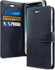 Goospery Blue Moon Wallet for Apple iPhone Xs Case (2018) iPhone X Case (2017) Leather Stand Flip Cover (Dark Navy) IPX-BLM-NVY