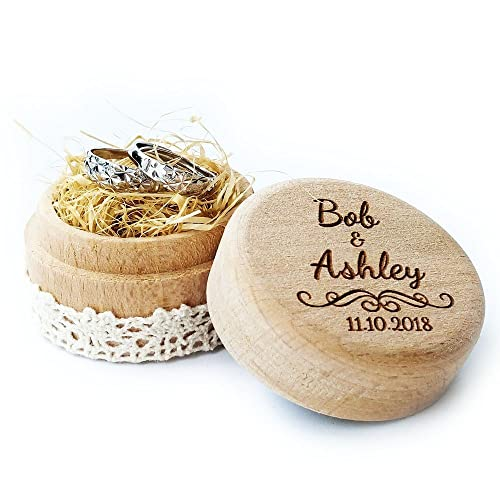 Caja de madera para anillos de Joeliu; estilo rústico, para anillos de compromiso (