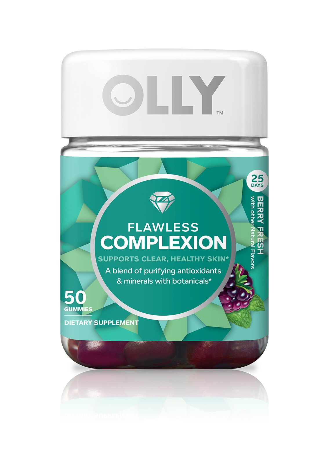OLLY Flawless Complexion Gummy Supplement, with antioxidants; Berry Fresh; 50 count, 25 day supply (packaging may vary)
