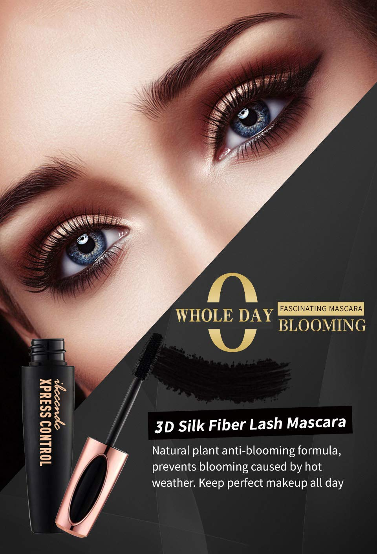 Dkina Máscara de Pestañas 4D, Mascara crema maquillaje pestañas impermeable, Silk Fiber Intensivo larga Natural Agua Densidad, Lash con Fibras de 4D Volumen ...