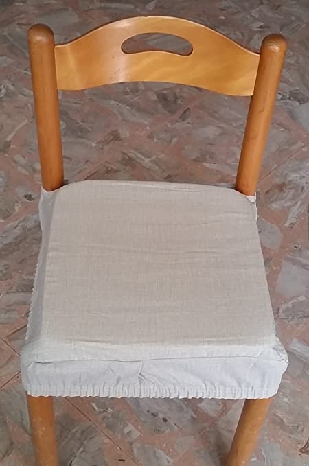 N.6 cuscini coprisedia quadrati universali sfoderabili con zip tinta unita panna