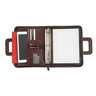 Professional Business Padfolio Portfolio Briefcase Style Tablet Holder Organizer Folder with Handles Notepad and 3 Ring Binder - Brown Synthetic Leather- Best Office Solutions