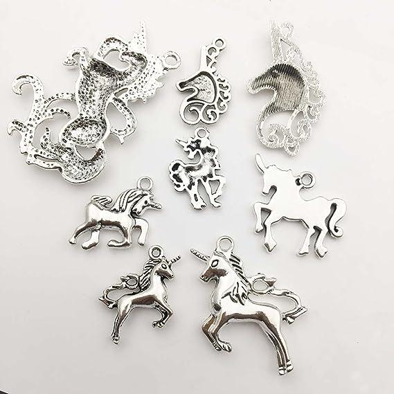 SC1426 BULK 40 Unicorn Charms Antique Silver Tone 2 Sided Just Beautiful