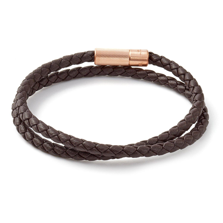 Tateossian Mens POP Rigato Double Wrap Black Italian Leather Bracelet Black - Medium 39.5cm BL9225