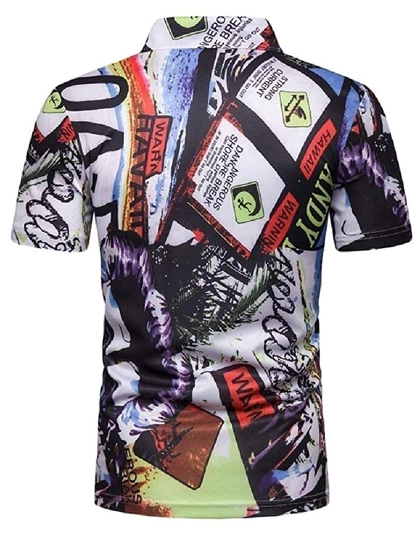 Alion Mens Short Sleeve Slim Beach Print Pattern Hipster Lapel Polo Shirt