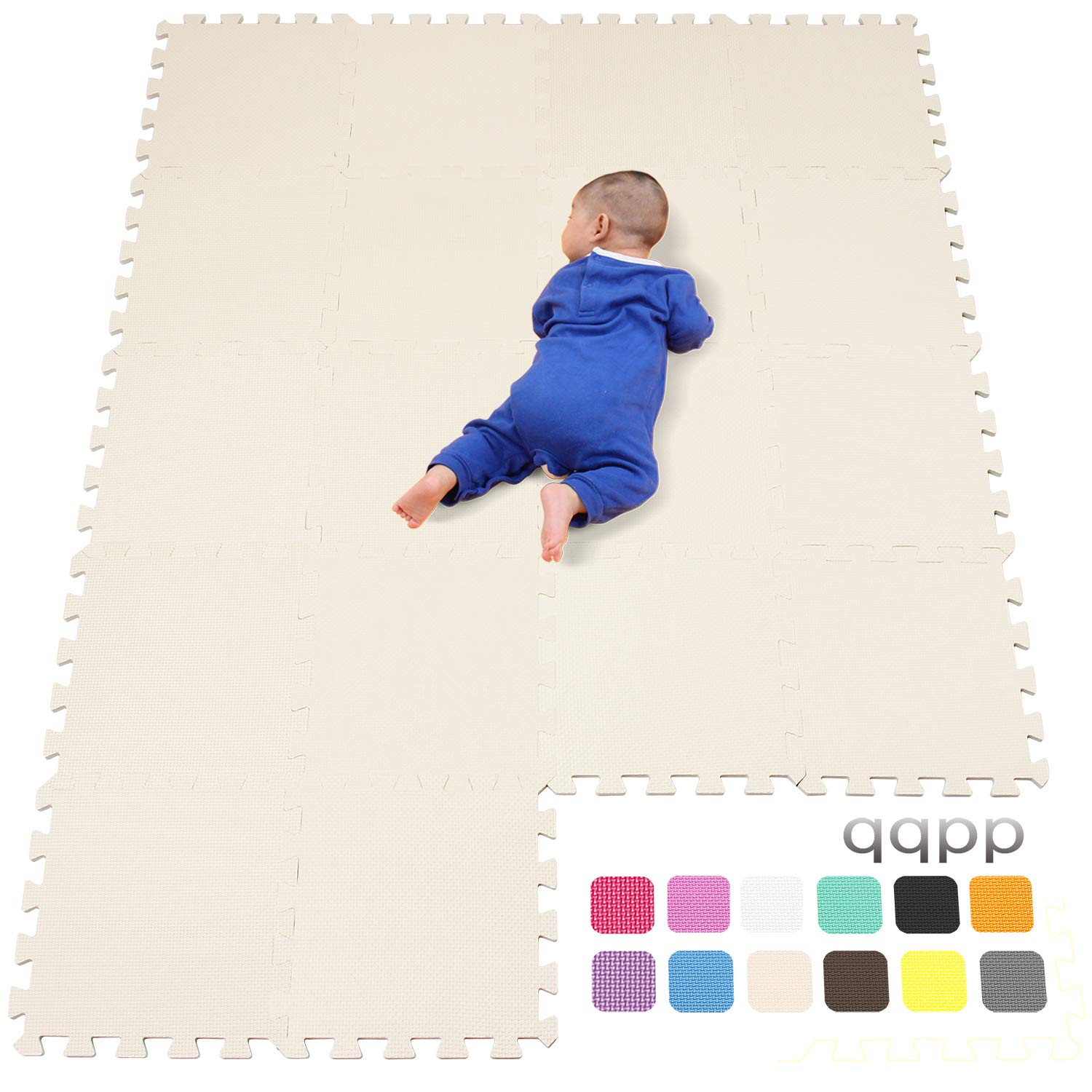 Green 18 Tiles Purple qqpp Mat,Soft EVA Foam Baby Play Mats For Floor Jigsaws Puzzle Board Portable Foldable 30*30*1cm QQC-AHKb18N White