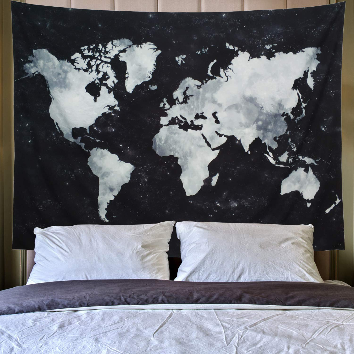 """Lahasbja World Tapestry Map Tapestry Starry World Map Tapestry Apartment Essentials Black and White Tapestry Globe Galaxy Constellation Tapestry for Men Dorm Posters (M/51.2"""" × 59.1"""", Starry Map)"""