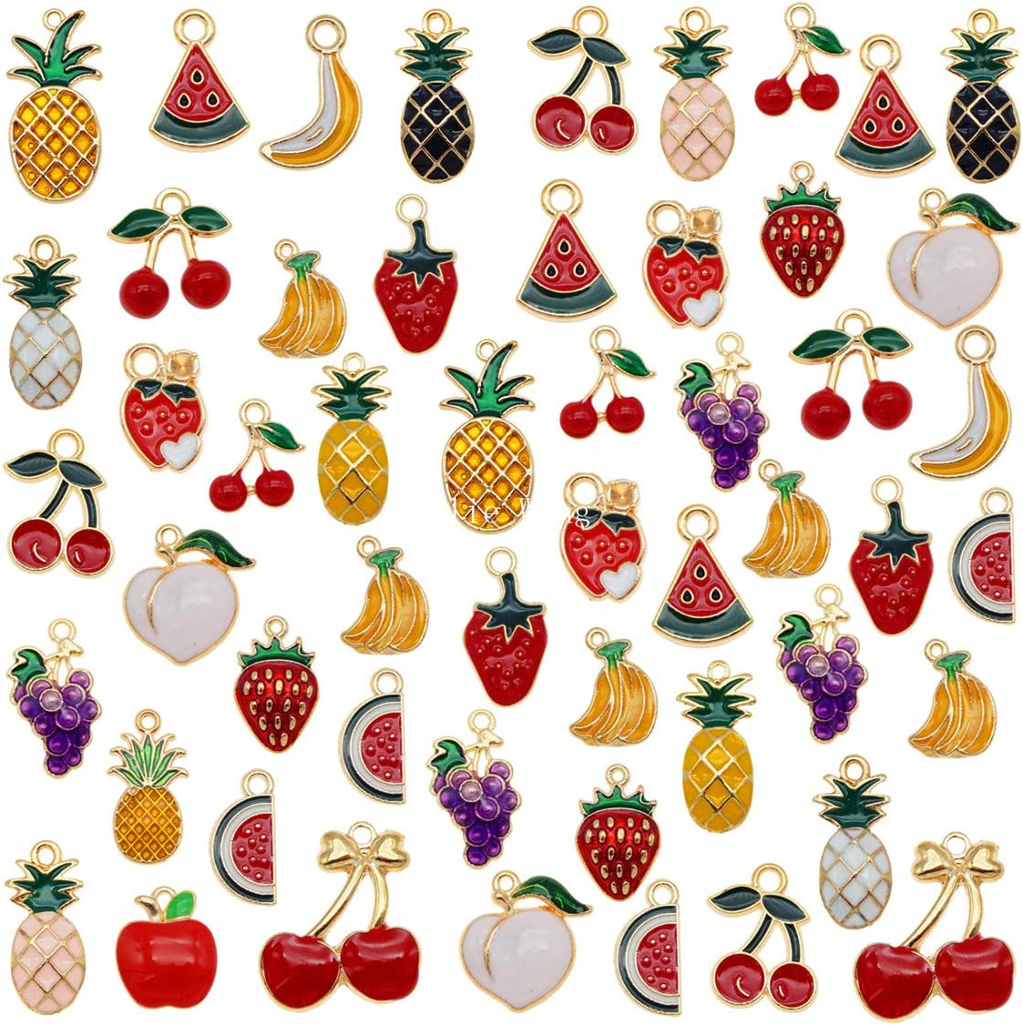 60pcs Mixed Enamel Fruits Charms for Kids Jewelry Necklace Bracelet Earring Making Pineapple Cherry Apple Banana Watermelon Grape