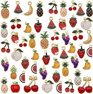 60pcs Mixed Enamel Fruits Charms for Kids Jewelry Necklace Bracelet Earring Making Pineapple Cherry Apple Banana Watermelon Grape