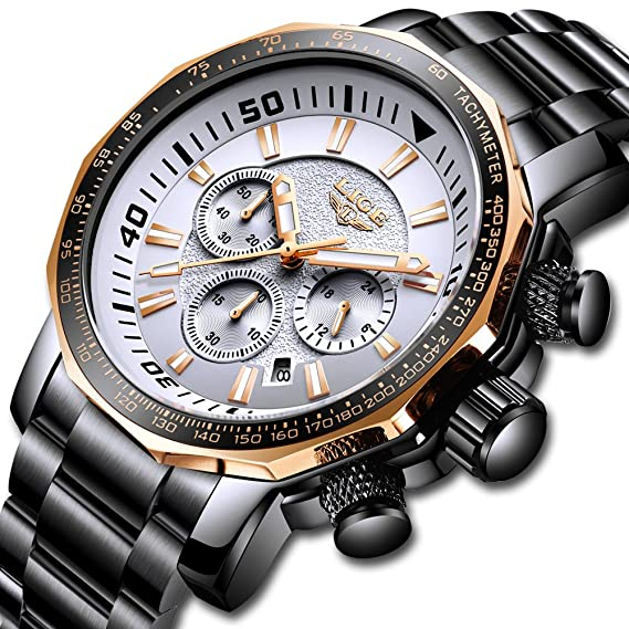 Relojes para Hombres,LIGE Impermeable Cronógrafo Cara Grande Deportivo Relojes analógico de Cuarzo Acero Inoxidable Fecha Negocio Casual Lujo Relojes de ...