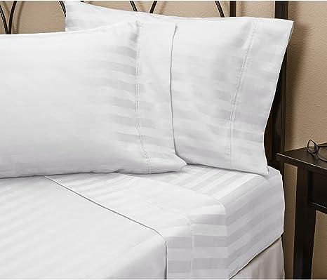 Scala Rayas Blancas King Juego de sábanas de algodón Egipcio de ...