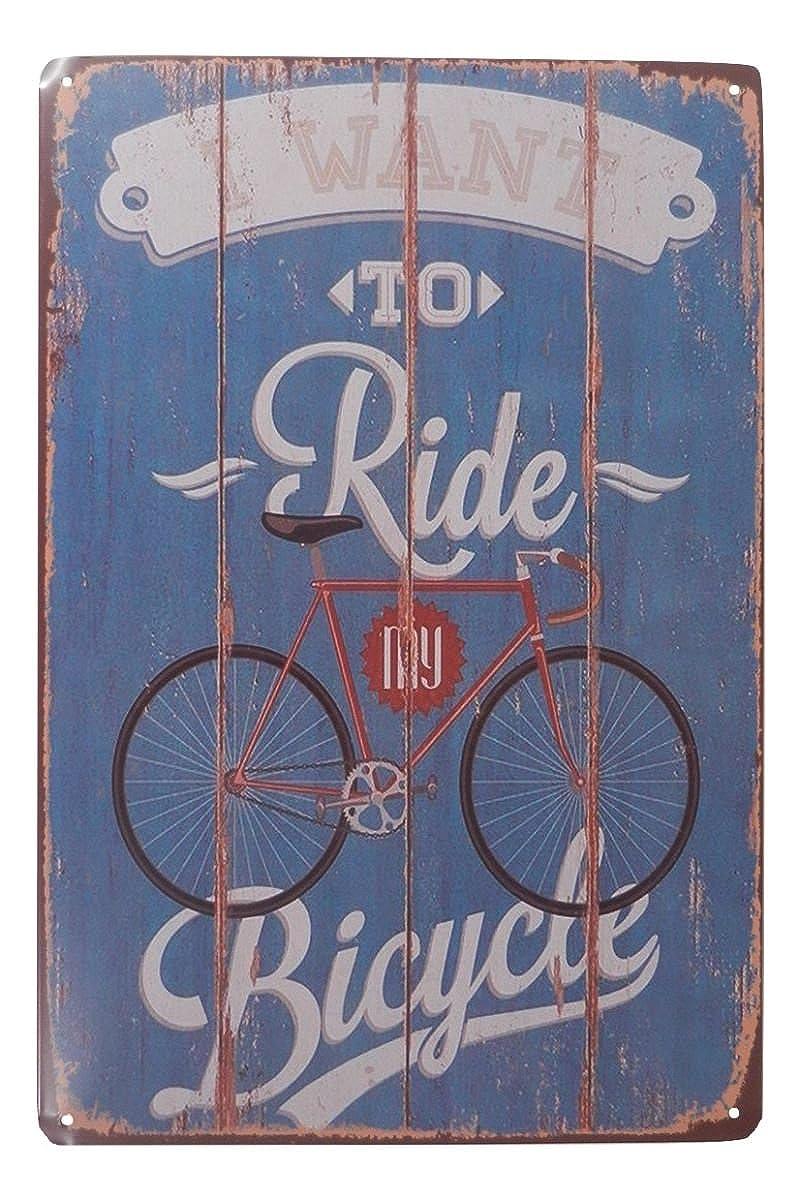 I Want to Ride My Bicycle Bike Riding Tin Sign Bar Pub Garage Home Art Wall Decor Poster Retro