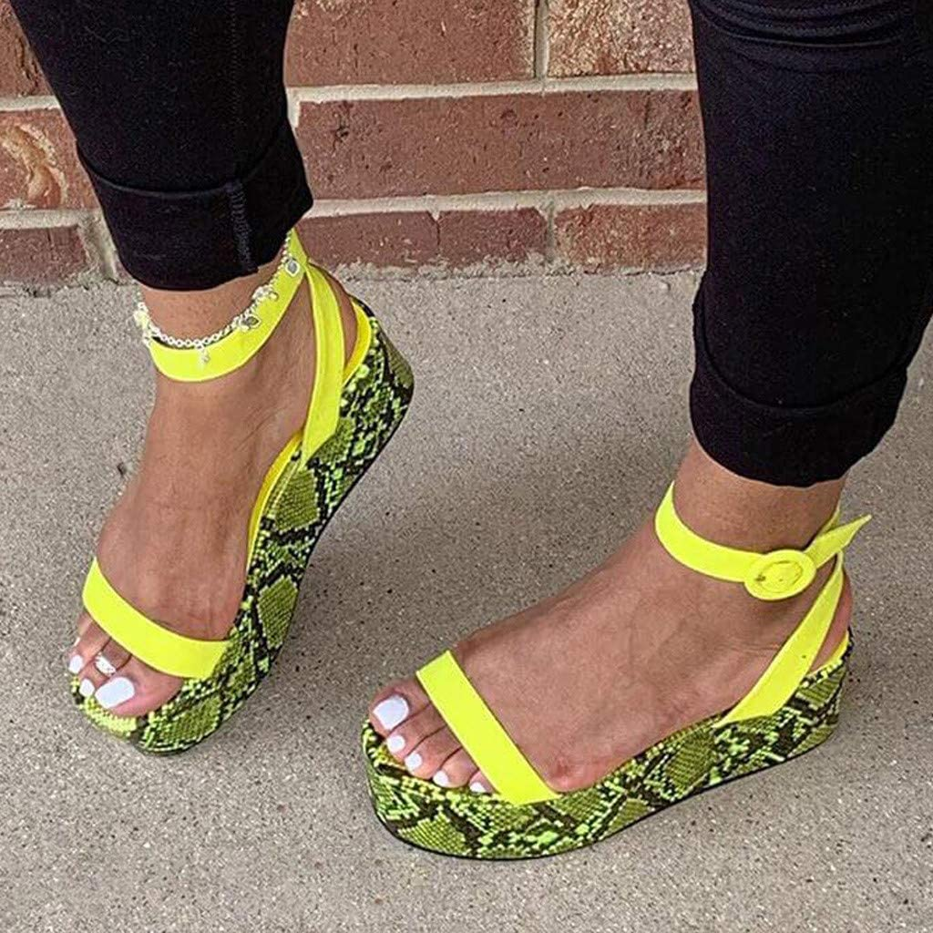 Cewtolkar Women Summer Multicolor Color Shoes Open Toe Sandals Fashion Snakeskin Shoes Beach Sandal Non Slip Shoes