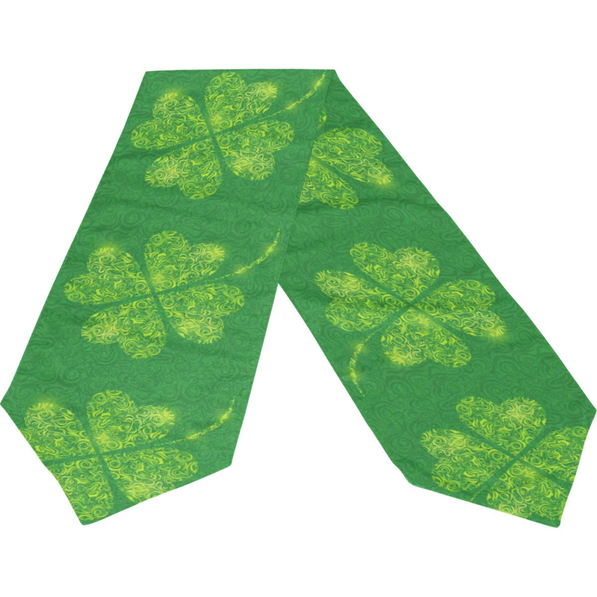 Lucky Patrick Shamrock Clover Long Table Runner Cloth 13x90 Inch, Table Runner Placemat for Kitchen Dining Wedding Home Decor Gift Housewarming