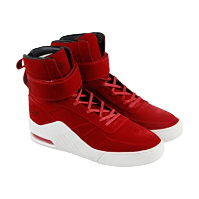 Radii Prism Mens Red Suede High Top Lace Up Sneakers Shoes 11