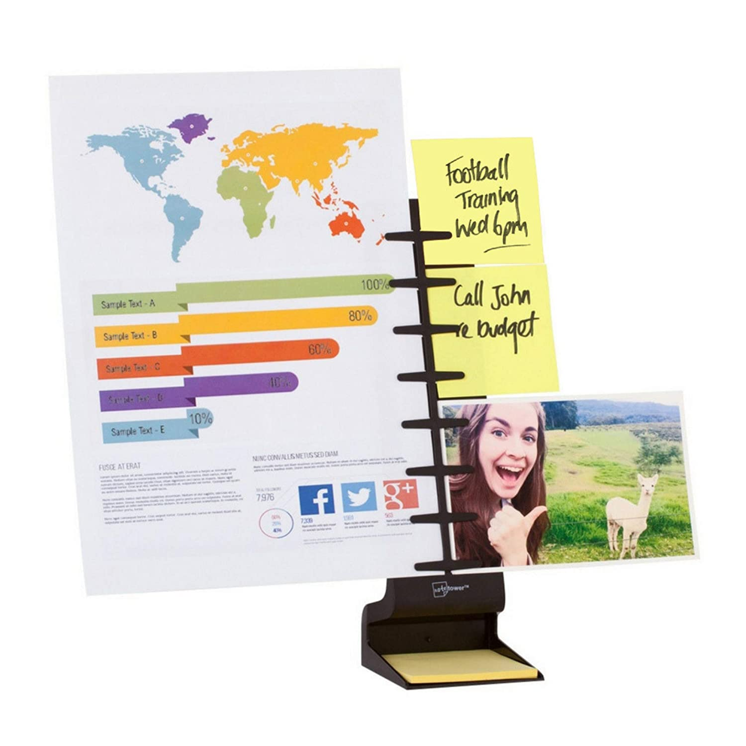 NoteTower Desktop Pro (Black) - 2-Page Document Holder, Typing Stand & Sticky Note Organizer - Displays Documents, Photos, Sticky Notes and Memos - Patented, Compact & Lightweight