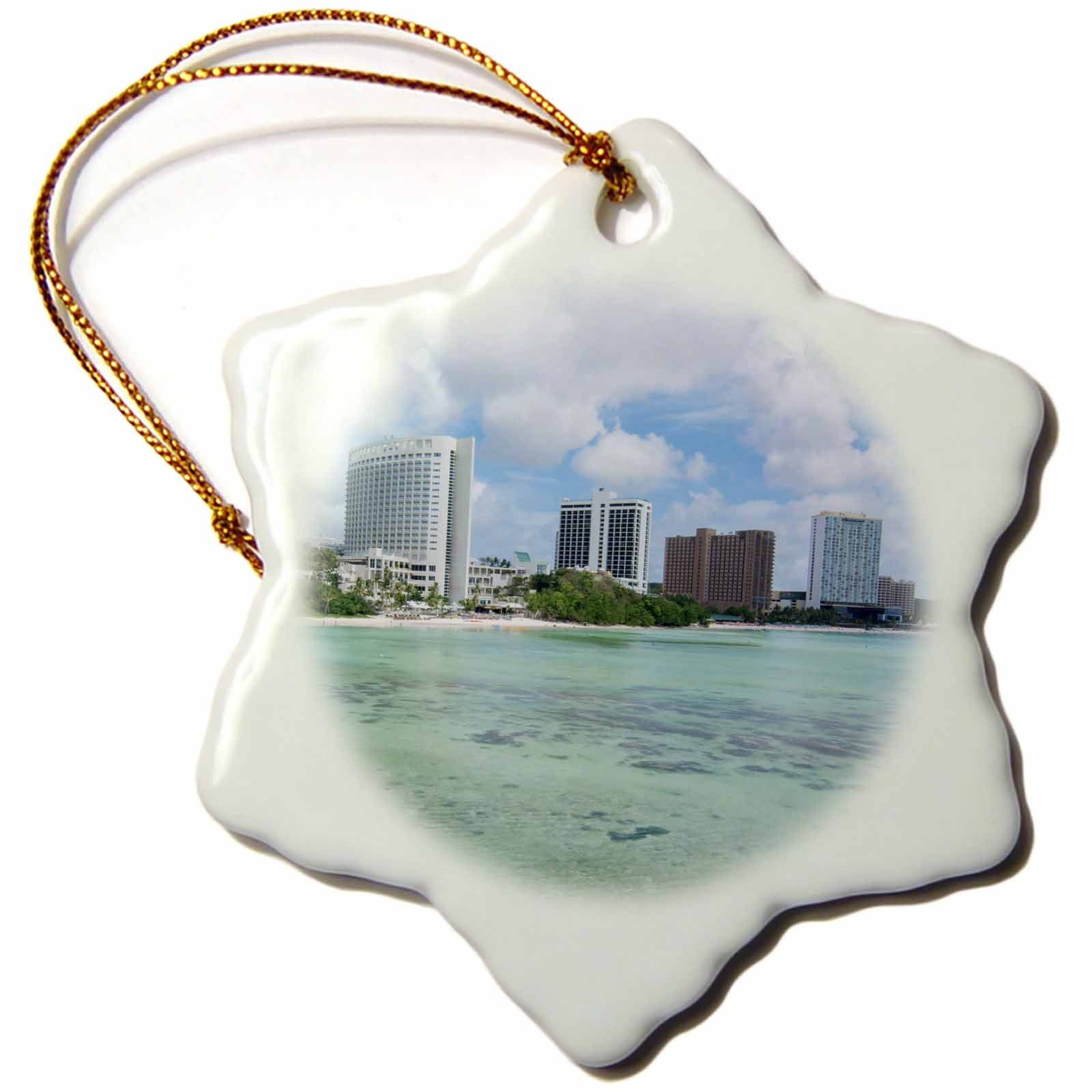 3dRose Danita Delimont - Cities - Guam Territory. Hotels line beach with clear tropical waters. - 3 inch Snowflake Porcelain Ornament (orn_278126_1)