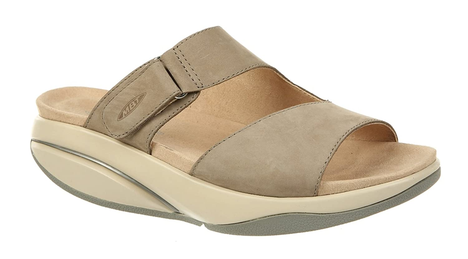MBT Shoes Women's Tabia Sandal Leather Velcro B07B8GBZZM 9 B(M) US Woman|Taupe/Grey
