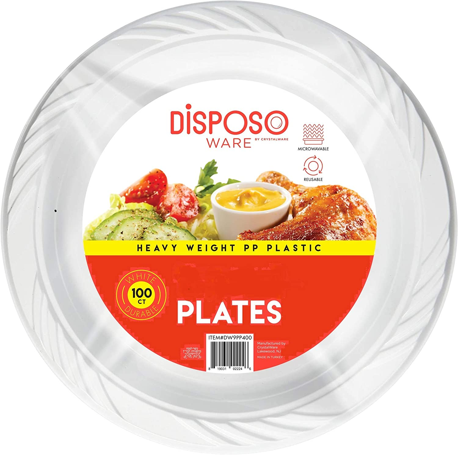 8.5 Inch 100 Count Round White Plastic Plates. These are disposable, heavy duty, white plastic plates. Great for: Diners, Parties, Kids plates, Wedding, Camping, Trips and any Home and Office use.
