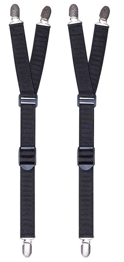 7c38fd898c B&P Shirt Stays Sock Suspenders - Durable Elastic - Non Slip Clips - Simple  to Attach - for Professional and Formal Use