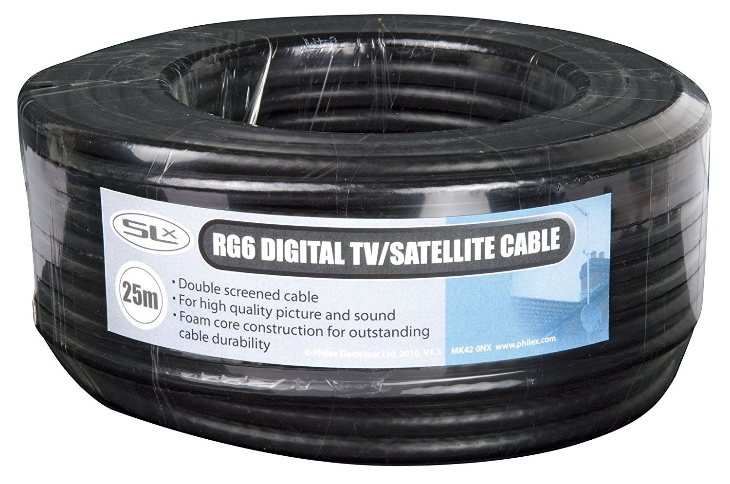 Coax Cable 25m Rg6 Black Philex 27600fw25 Aerial Satellite House Wiring Electronics