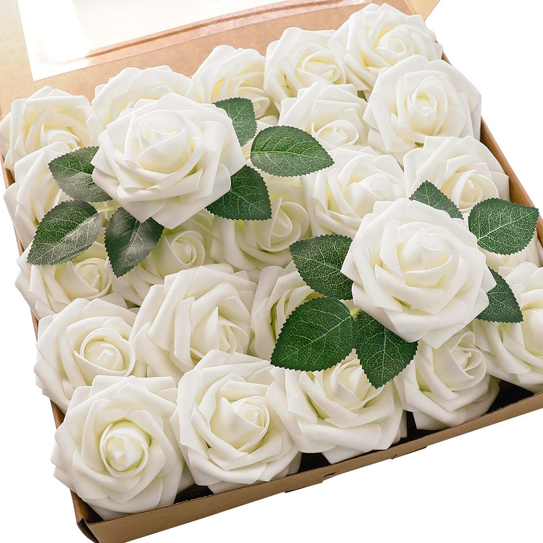 Floroom Artificial Flowers 25pcs Real Looking Foam Ivory Fake Roses with Stems for DIY Wedding Bouquets White Bridal Shower Centerpieces Arrangements Party Tables Decorations