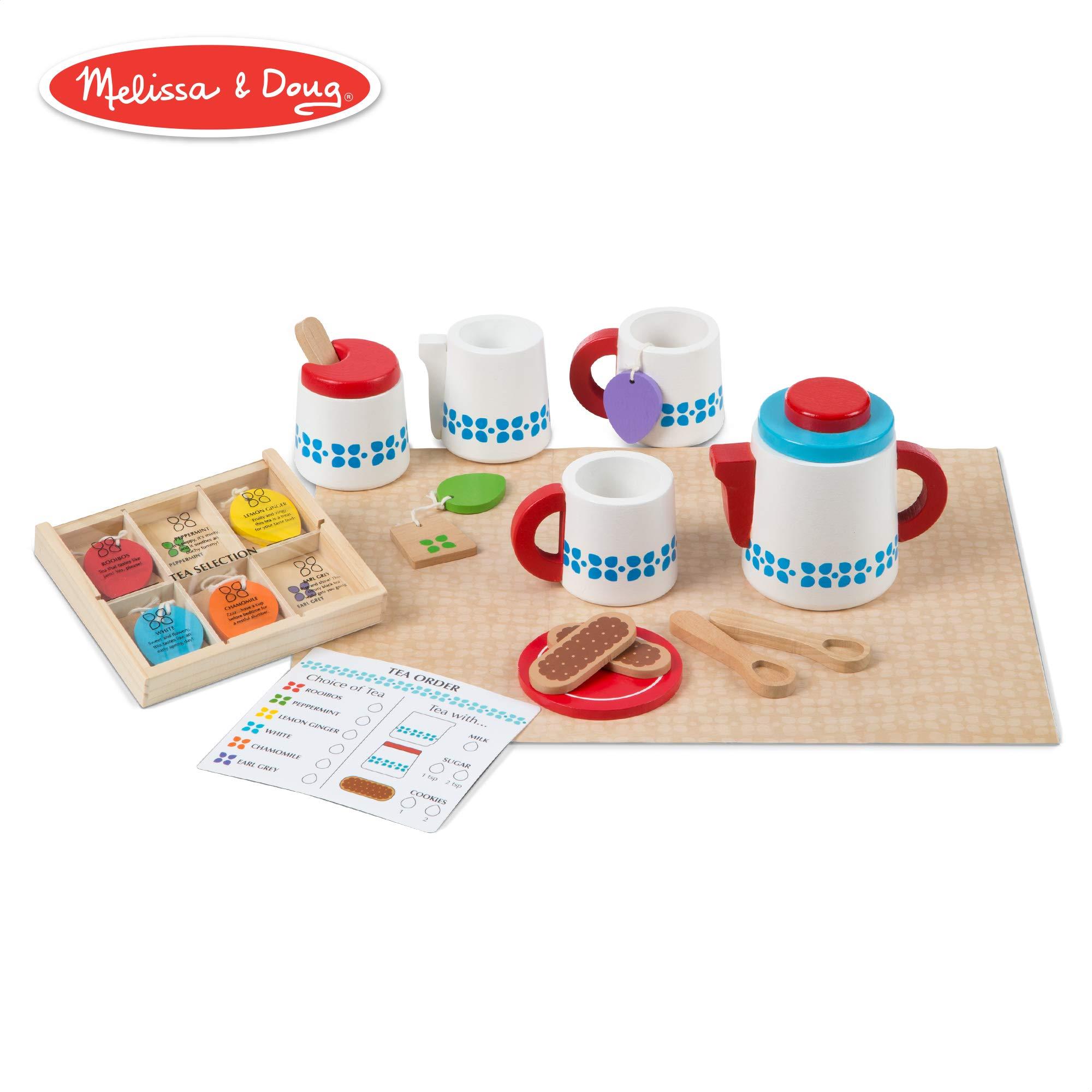 Melissa & Doug Wooden Steep & Serve Tea Set (Pretend Play, All-Wood Tea Service, Brightly Colored Tags, 12'' H x 15'' W x 3.5'' L)