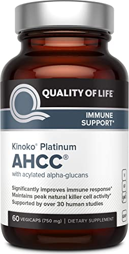 Premium Kinoko Platinum AHCC Supplement 750mg of AHCC per Capsule Supports Immune Health, Liver Function, Maintains Natural Killer Cell Activity 60 Veggie Capsules