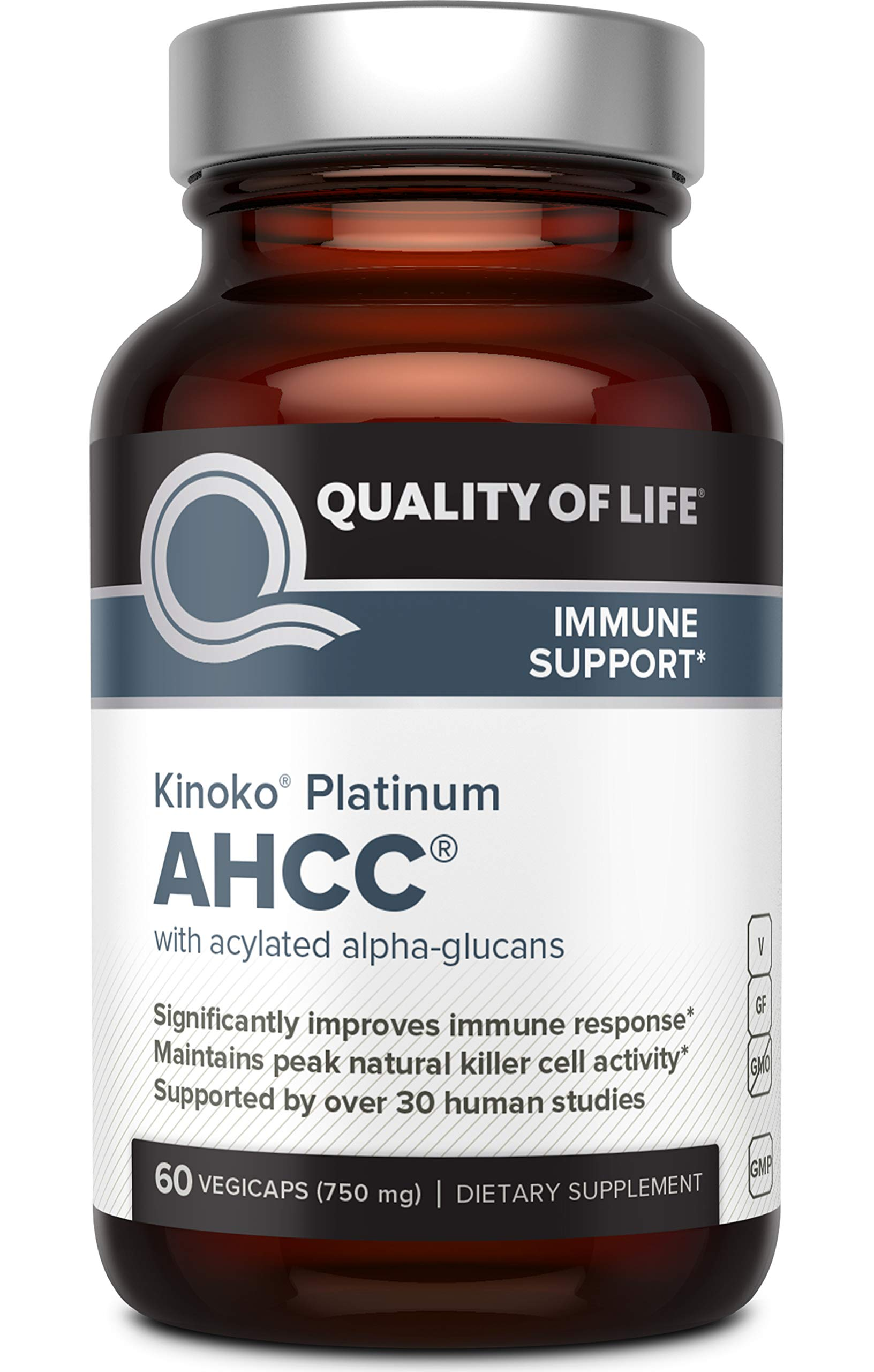 Premium Kinoko Platinum AHCC Supplement - 750mg of AHCC per Capsule - Supports Immune Health, Liver Function, Maintains Natural Killer Cell Activity - 60 Veggie Capsules by Quality of Life