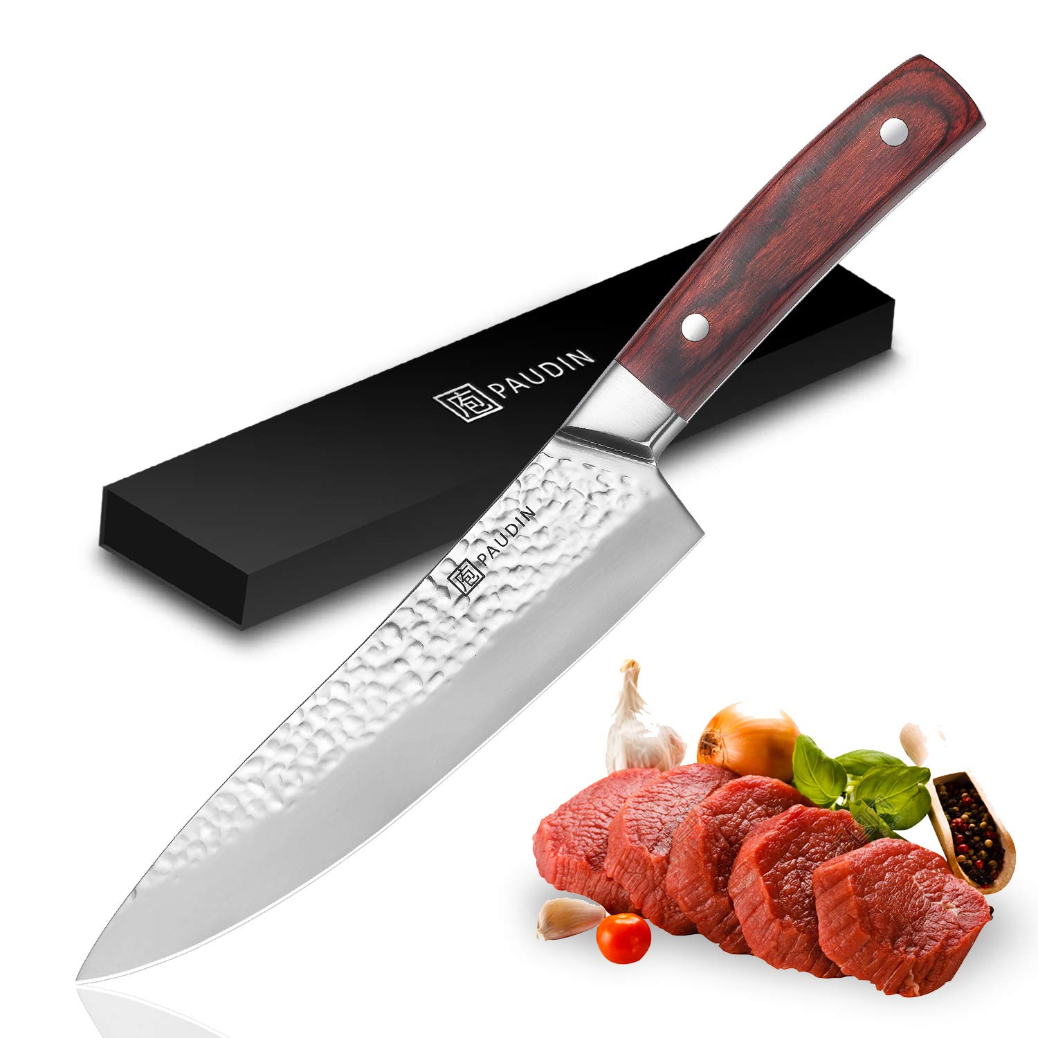 PAUDIN Chef Knife - Ultra Sharp 8 Inch Kitchen Knife, Superior Hammered Pattern High Carbon German Stainless Steel Chefs Knife with Ergonomic Handle, Cooking Knife Ideal for Home and Restaurant ... by PAUDIN