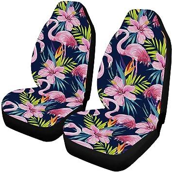 CarsCover Pink Flamingo Birds Crystal Diamond Bling Rhinestone Black Car SUV Truck Low Back Seat Covers