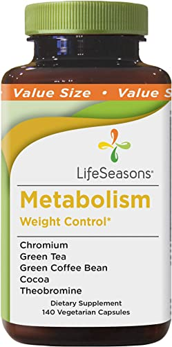 LifeSeasons – Metabolism – Weight Control Support and Energy Booster Supplement – Natural Appetite Suppressant – Mood Enhancement – Chromium, Apple Cider Vinegar and Cocoa Bean Extract – 140 Capsules