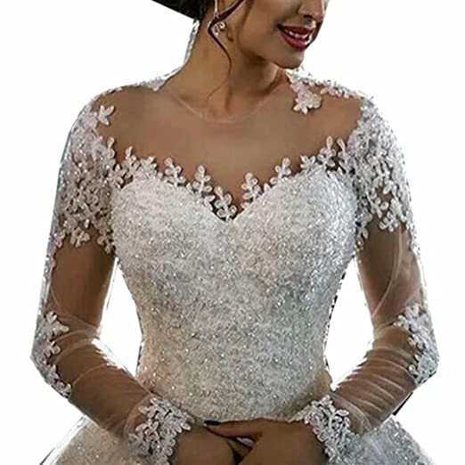 e8a806e8be0f Molixin Women's Long Sleeves Wedding Dresses Luxury Lace Beading Bridal  Gowns at Amazon Women's Clothing store:
