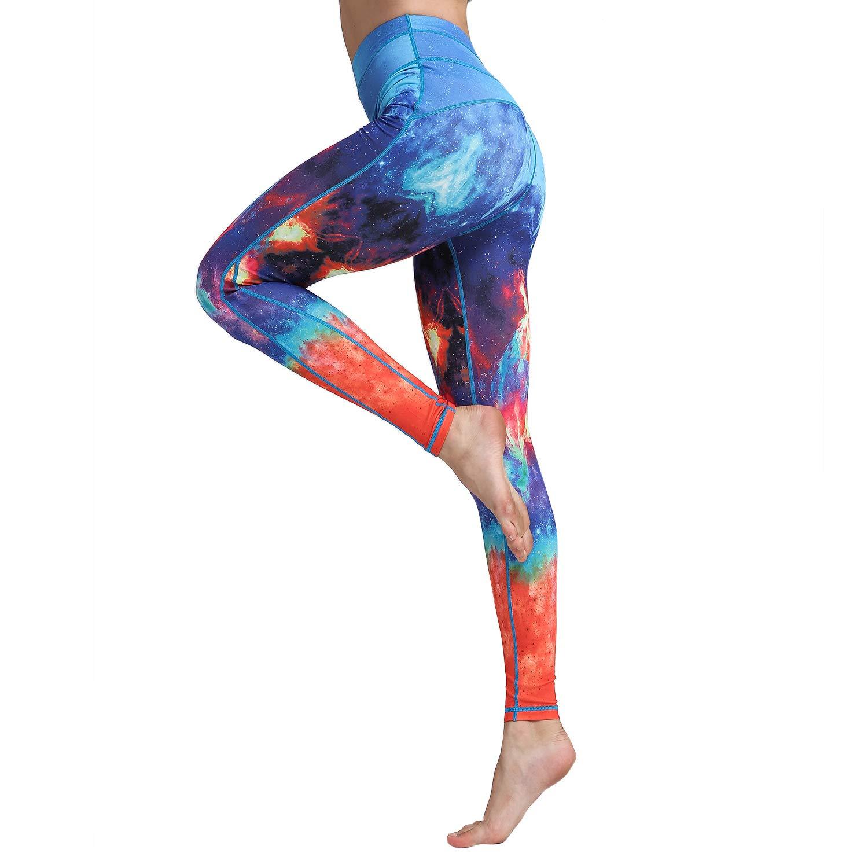 Hk99orange bluee Nebula Witkey Printed Extra Long Women Yoga Leggings High Waist Tummy Control Over The Heel Yoga Pants