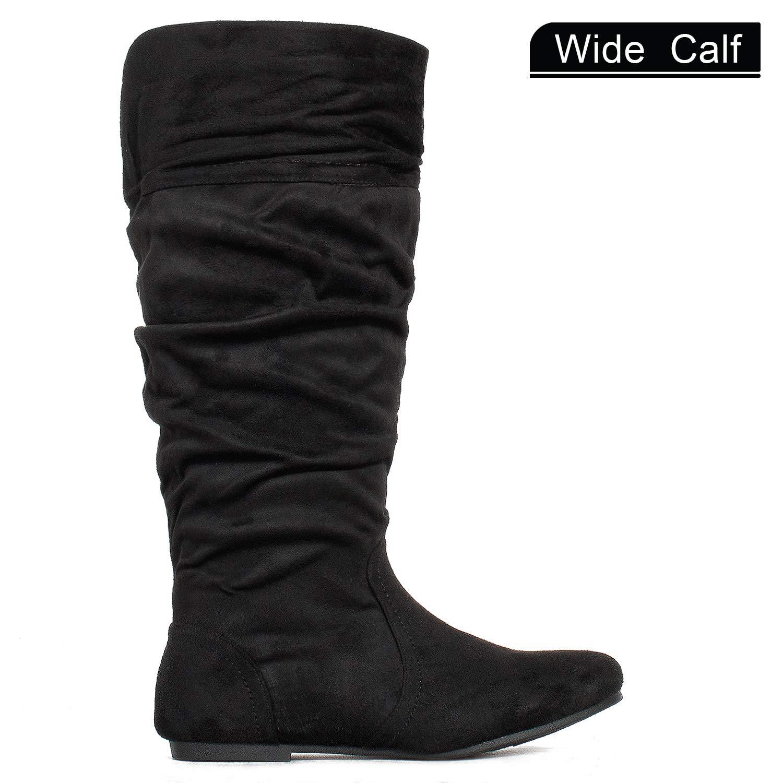 ca3df78442a3 Amazon.com   RF ROOM OF FASHION Women's Wide Calf Knee High Hidden Pocket Slouchy  Boots   Knee-High